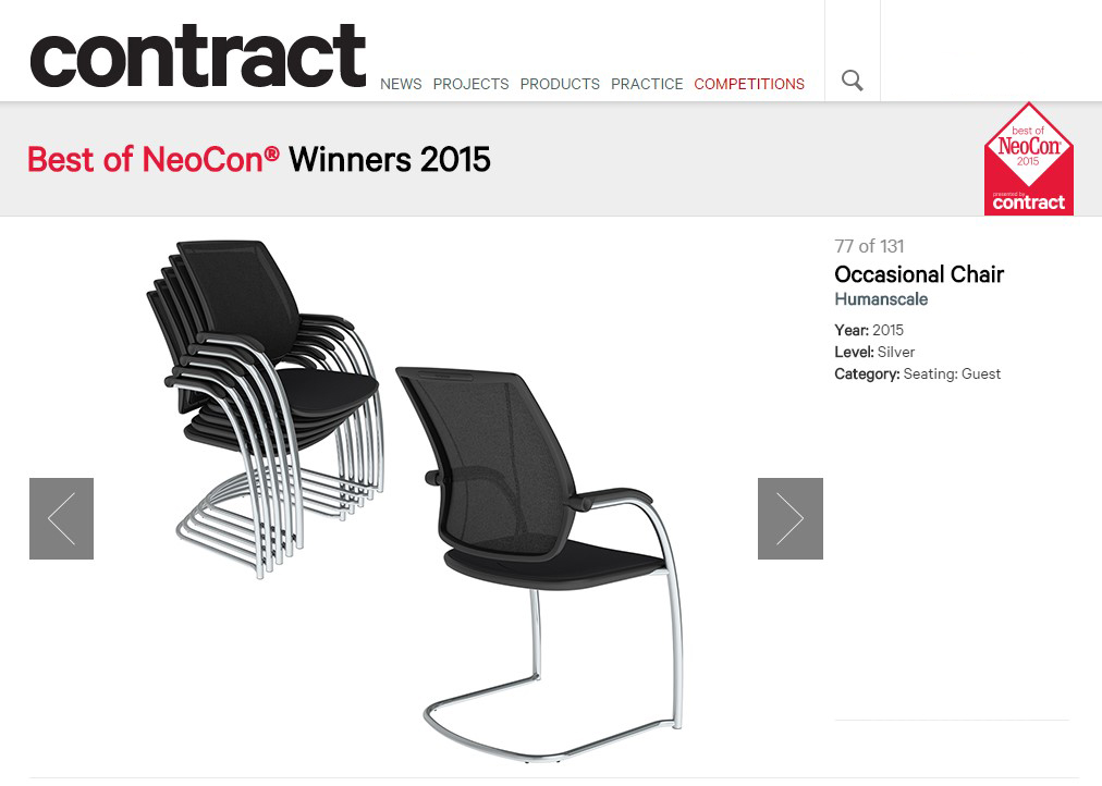 Humanscale Occasional Chair, Developed By Shea+Latone, Wins Best Of Neocon